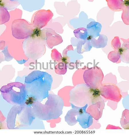 Repeating Watercolor Flower Pattern Modern Watercolor Floral Background Pattern