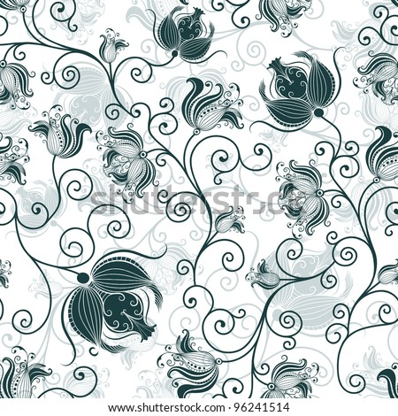 Repeating white and dark-green floral pattern with vintage flowers