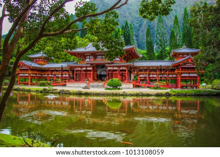 Replica of japanese temple Byodo-In located in the Valley of the Temples, Oahu, Hawaii, USA