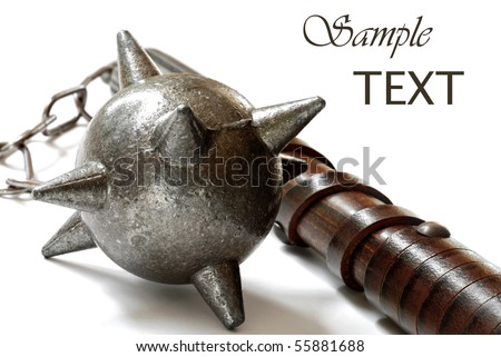 Replica of medieval flail on white background with copy space.  Macro with shallow dof.