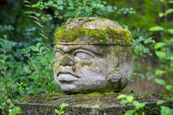 Replica of Olmec civilization Sculpture, colossal head carved from stone in forest. Big stone head statue in a jungle.