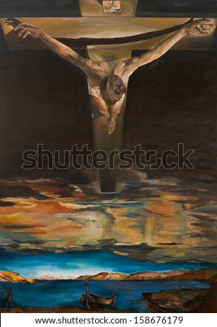 replica of one of Salvador Dali's painting, Christ of Saint John of the Cross, oil painting