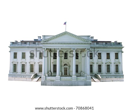 Replica of the White House isolated on white background