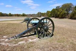 Replicas of old Civil War cannons at the Pea Ridge National Battlefield in Garfield, Arkansas.