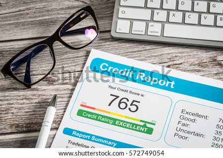 report credit score banking borrowing application risk form document loan business market concept - stock image