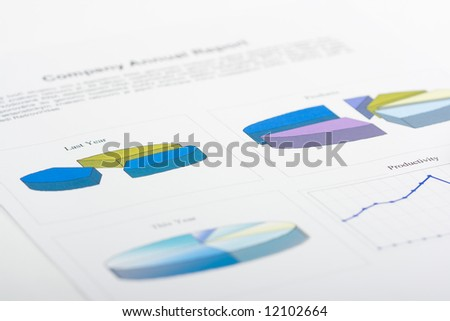 report with with line diagrams and line charts
