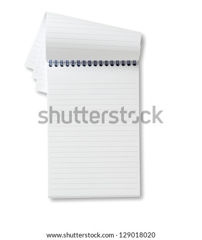 reporters blank  notebook ready for copy, copyspace with clipping path