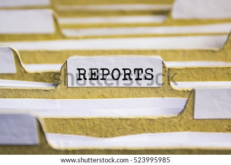 Reports word on card index paper