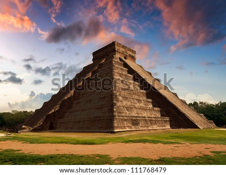 Representation of The Feather Serpent during spring equinox in Kukulkan Pyramid, Chichen Itza. This spectacular phenomenon occurs only twice a year: on 21 March and 22 September.