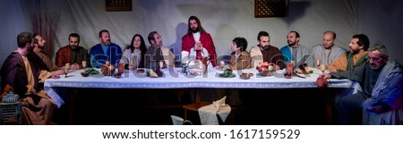 Representation of the last supper of Jesus Christ, with real characters  Stock photo ©