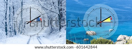 Representation of winter time vs. summer time, digits with minute hand and red second hand. Copy space in front of sky and cloud background. Stock fotó ©