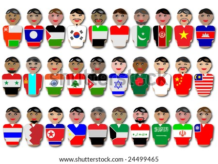 Representative people from Asia countries dressed in their national flags