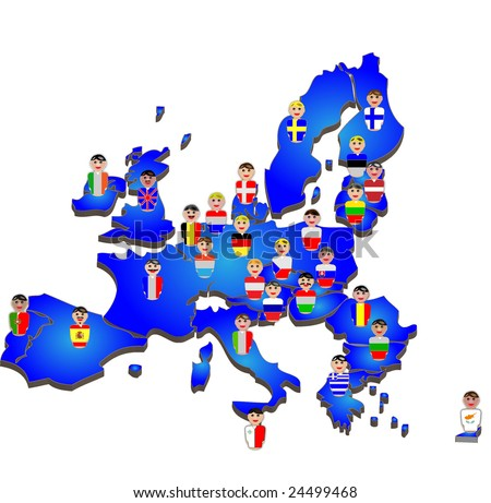 Representative people from the European Union countries dressed in their national flags placed over their country map