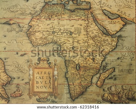 Reproduction of 16th century map of Africa engraved and colored by the famous dutch cartographer Abraham Ortelius
