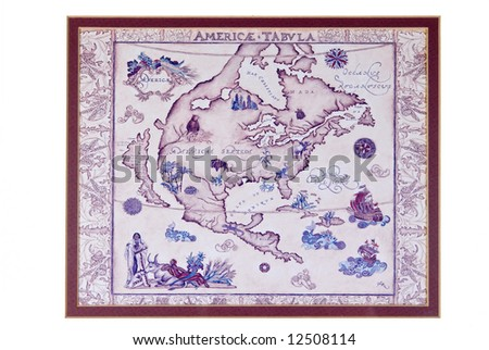 Reproduction of very old North American map. Framed for wall hanging