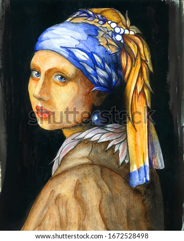 Reproduction work of Girl with a Pearl Earring by Johannes Vermeer