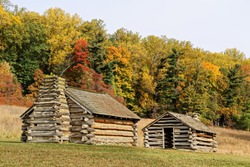 Reproductions of cabins used by Revolutionary War soldiers during the winter of 1777-78 under the command of George Washington. Located in Valley Forge National Historic Park, Pennsylvania, USA.