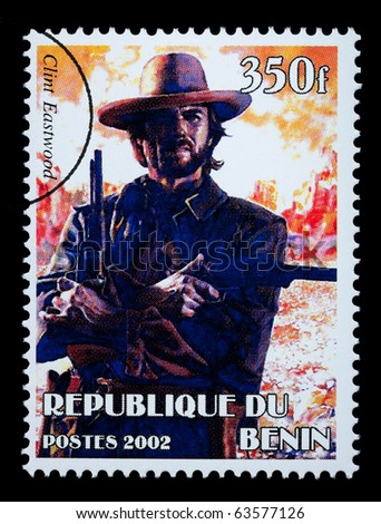 REPUBLIC OF BENIN - CIRCA 2002: A postage stamp printed in the Republic of Benin showing Clint Eastwood, circa 2002