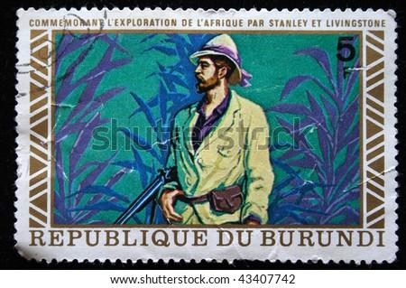 Republic of Burundi - CIRCA 1970s: A stamp printed in Burundi shows David Livingstone, circa 1970s
