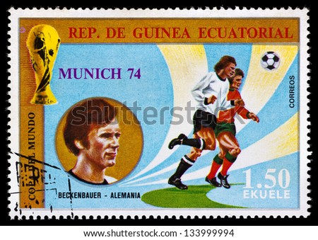 REPUBLIC OF EQUATORIAL GUINEA - CIRCA 1974: A stamp printed in the Republic of Equatorial Guinea shows football player (world Cup : Munich, Germany) and portrait Beckenbauer (Germany), circa 1974.