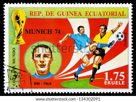 REPUBLIC OF EQUATORIAL GUINEA - CIRCA 1974: A stamp printed in the Republic of Equatorial Guinea shows football player (World Cup : Munich, Germany) and portrait Riva (Italy), circa 1974.