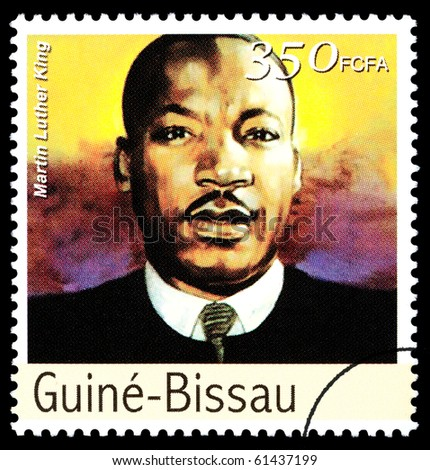 REPUBLIC OF GUINEA-BISSAU - CIRCA 2000: A postage stamp printed in the Republic of Guinea-Bissau showing Martin Luther King, circa 2000 - stock photo