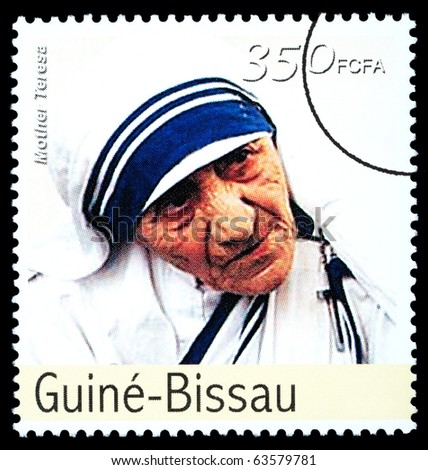 REPUBLIC OF GUINEA-BISSAU - CIRCA 2000: A postage stamp printed in the Republic of Guinea-Bissau showing Mother Teresa, circa 2000