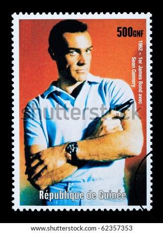 REPUBLIC OF GUINEA - CIRCA 2003: A postage stamp printed in the Republic of Guinea showing James Bond, circa 2003