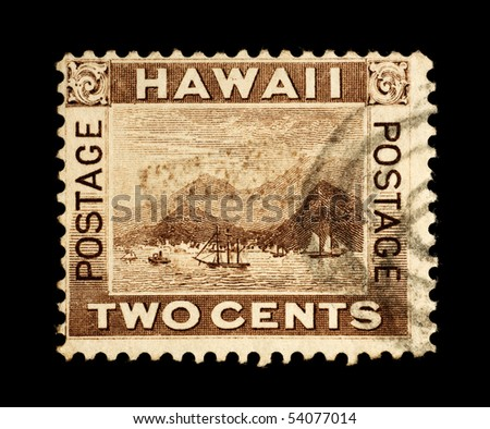 REPUBLIC OF HAWAII - CIRCA 1893- 1894:  Postage stamp from the Republic of Hawaii depicting the port of Honolulu, circa 1893 - 1894