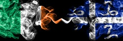 Republic of Ireland, Irish vs France, French, Martinique smoky mystic flags placed side by side. Thick colored silky abstract smoke flags.