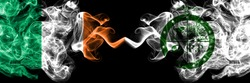Republic of Ireland, Irish vs United States of America, America, US, USA, American, Pee Pee Township, Ohio smoky mystic flags placed side by side. Thick colored silky abstract smoke flags.