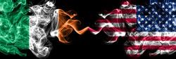 Republic of Ireland, Irish vs United States of America, America, US, USA, American smoky mystic flags placed side by side. Thick colored silky abstract smoke flags.