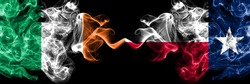 Republic of Ireland, Irish vs United States of America, America, US, USA, American, Texas smoky mystic flags placed side by side. Thick colored silky abstract smoke flags.