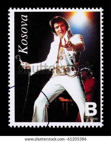 REPUBLIC OF KOSOVO - CIRCA 1999: A postage stamp printed in the Republic Of Kosovo showing Elvis Presley, circa 1999