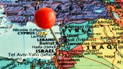 Republic of Lebanon Red push pin on the Beirut city on the map.