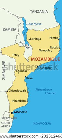 Republic Of Mozambique Map Ez Canvas