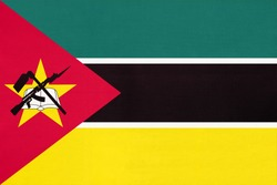 Republic of Mozambique national fabric flag, textile background. Symbol of international world African country. State mozambican official sign.