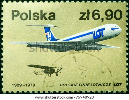 REPUBLIC OF POLAND - CIRCA 1979: a stamp printed by Republic of Poland, shows LOT planes, 1929 and 1979, series 50th anniversary of LOT, Polish airline, circa 1979
