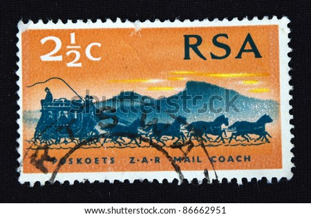 REPUBLIC OF SOUTH AFRICA - CIRCA 1974: A stamp printed in Republic of South Africa shows Carriage, circa 1974