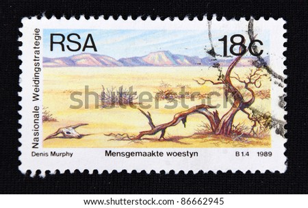 REPUBLIC OF SOUTH AFRICA - CIRCA 1989: A stamp printed in Republic of South Africa shows Death of animals and plants, environmental protection, circa 1989
