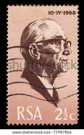 REPUBLIC OF SOUTH AFRICA - CIRCA 1968: A stamp printed in Republic of South Africa shows Fouche, 10-IV-1968, circa 1968 - stock photo