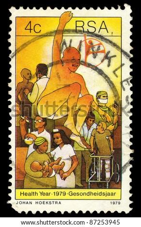 REPUBLIC OF SOUTH AFRICA - CIRCA 1979: A stamp printed in Republic of South Africa shows image of Health Year 1979, Gesondheidsjaar, circa 1979 - stock photo