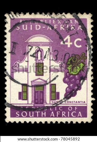REPUBLIC OF SOUTH AFRICA - CIRCA 1965: A stamp printed in Republic of South Africa shows image of a the Groot Constantia wine estate, series, circa 1965