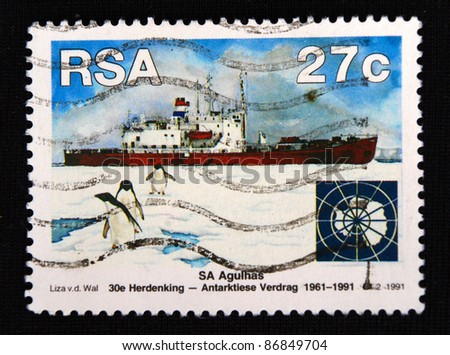 REPUBLIC OF SOUTH AFRICA - CIRCA 1991: A stamp printed in Republic of South Africa shows Ships and penguins, circa 1991