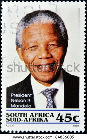 REPUBLIC OF SOUTH AFRICA - CIRCA 1994: A stamp printed in RSA shows Nelson Mandela, circa 1994