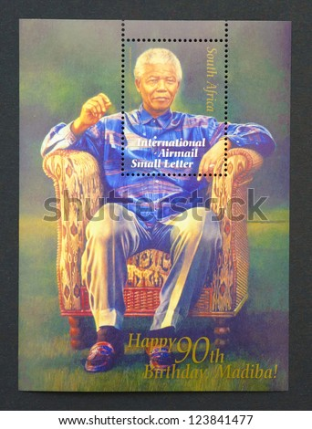 REPUBLIC OF SOUTH AFRICA - CIRCA 2008: postage stamp printed in Republic of South Africa showing an image of Nelson Mandela, circa 2008.