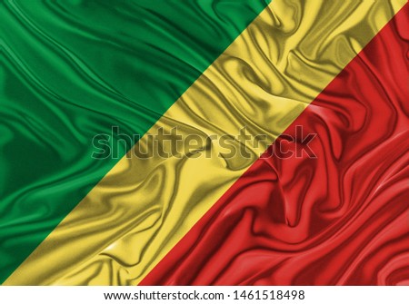Republic of the Congo Flag of Silk, Flag of Republic of the Congo fabric texture background. #1461518498