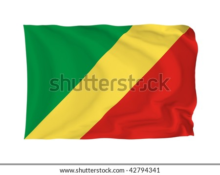 Republic of the Congo. High resolution African Flag series. With fabric texture.