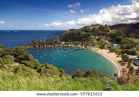 Republic of Trinidad and Tobago - Tobago island - Parlatuvier bay - Caribbean sea Stock photo ©