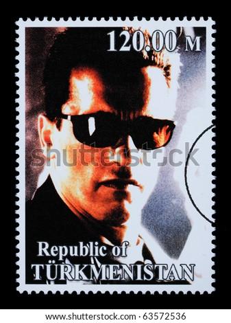 REPUBLIC OF TURKMENISTAN - CIRCA 2005: A postage stamp printed in Turkmenistan showing  Arnold Schwarzenegger, circa 2005